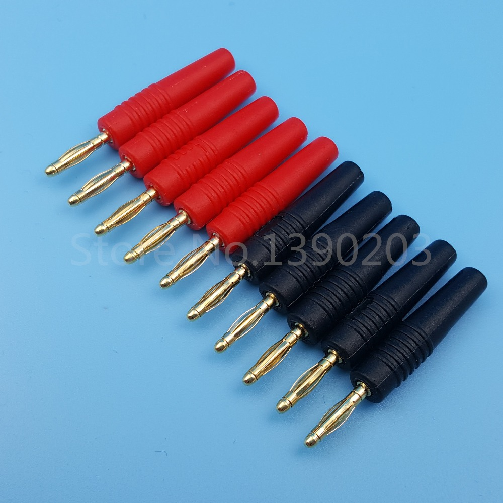 10Pcs 2mm Red and Black Gold Plate Wire Solder Type Male Banana Plug Connector areyourshop hot sale 50 pcs musical audio speaker cable wire 4mm gold plated banana plug connector