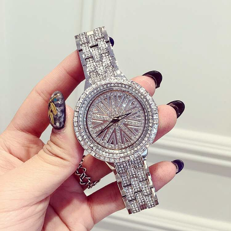 ФОТО Luxury Fashion Female Steel Quartz Watches Women Rhinostone Rotatable Dial Wristwatch Sparkling Shining Ladies Reloj Mujer OP001