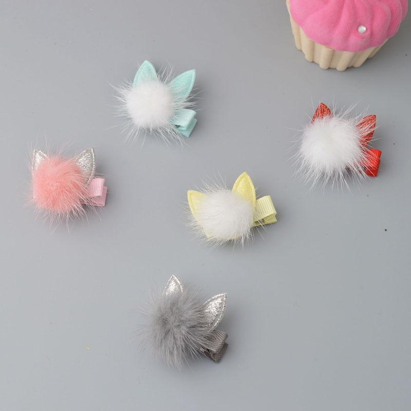 סגנון חמוד תינוק ילדי אביזרי סיכות לשיער ארנב פרווה אוזן ילדים בנות Barrette קליפ שיער יפה