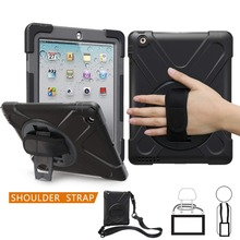 For Apple iPad 2 3 4 Case Hybrid 3 Layer Armor Rugged Shockproof Kickstand Shoulder Strap Cover for iPad 2nd 3rd 4th Generation