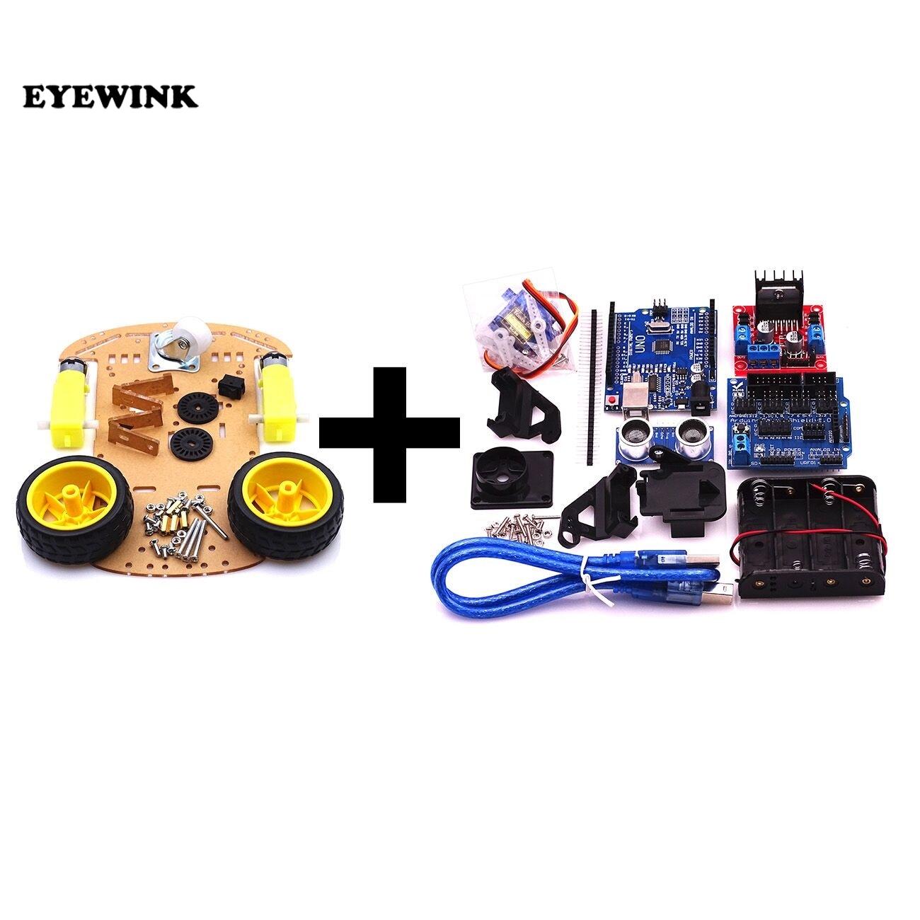Battery-Box Motor Car-Chassis-Kit Ultrasonic-Module Speed-Encoder Smart-Robot 2WD New