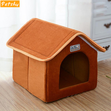 Petshy Pet Cat House Foldable Bed With Mat Soft Winter Kitten Puppy Sleeping Sofa Cushion Kennel Small Medium Dogs Nest