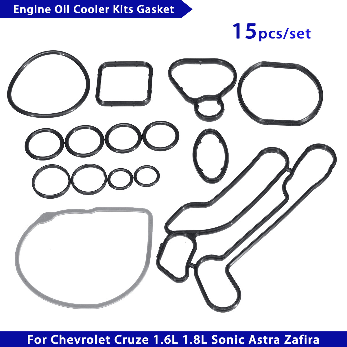 15Pcs/Set Engine Oil Cooler Cooling System Filter Gasket Seal <font><b>24445723</b></font> 55354071 For Chevrolet Cruze 1.6L 1.8L Sonic Astra Zafira image
