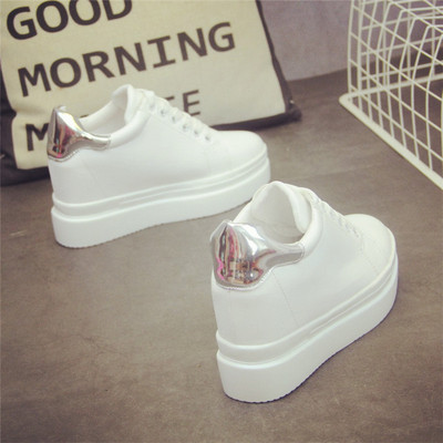 SWYIVY White Sneakers Shoes Female 2019 Spring New Student Platform High Heel Casaul Shoes Fashion Woman Sneakers Hidden Heel