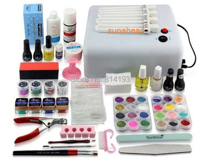 New Pro 36W UV GEL White and Pink Lamp & 12 Color UV Gel Nail Art Tools Sets Kits u-6 grid pattern pu leather case w view window key button for iphone 6 plus black