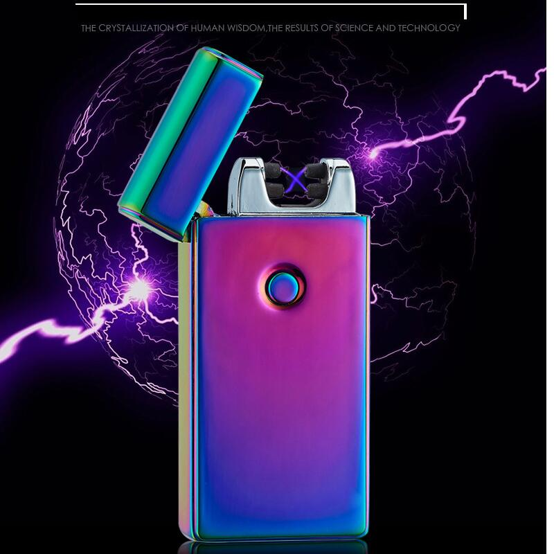 Newest Male Gift Creative Lighters Double Arc Pulsed Arc Slim Windproof Lighter Creative Personality font b