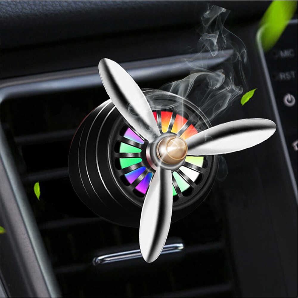 2019 New Car Air Freshener Mini LED Conditioning Alloy Auto Vent Outlet Perfume Clip Fresh Aromatherapy Fragrance Alloy Auto Hot