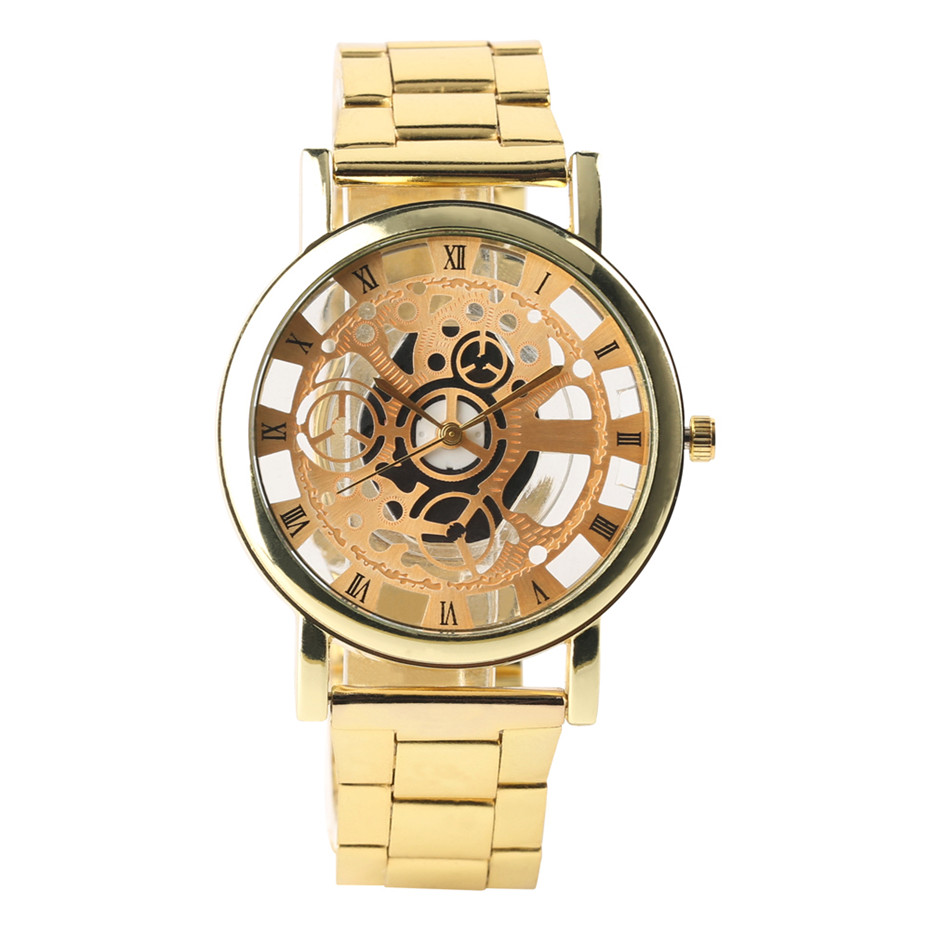 Golden/Silver Transparent Hollow Dial Quartz Men Wrist Watch Stainless Steel Band Casual Sport Watches Man Analog Male Clock Gif kareem morsy fish parasites part i