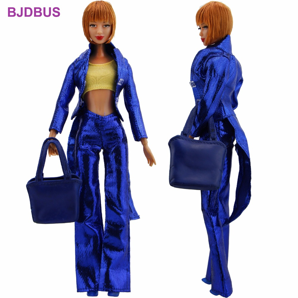 5 In 1 Special Outfit Swallow-tailed Coat Blue Trousers Tops Shoes Plastic Handbag Clothes For Barbie Doll Accessories Toy Gifts