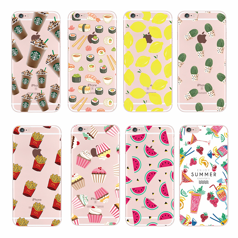 Food Fruit Pineapple Lemon Banana Cactus Strawberry Sushi Phone Case Cover For Apple iPhone 4 5 6 7 S Plus SE 5C