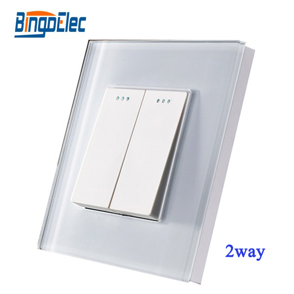 EU/UK Standard 2gang 2way 2 Button Switch  Wall Light Switch, White Glass Panel,110-250V AC ,50-60HZ, 86*86CM funry uk standard wall switch crystal glass panel 2 gang 1 way smart home touch switch ac 110 250v 1000w for light