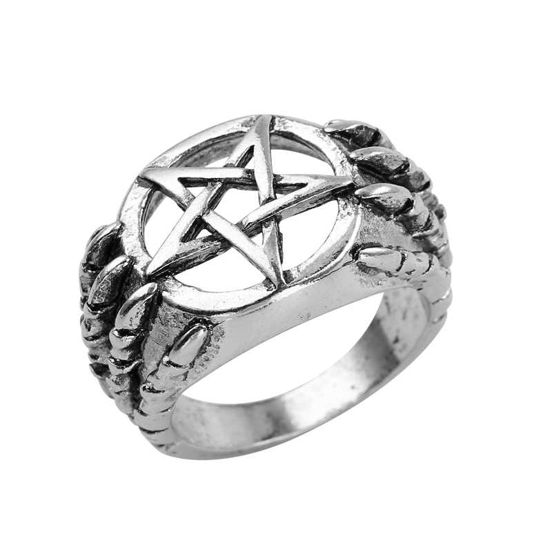 2018 Punk Pentagram Star Hip Hop Ring Vintage Top Quality Dragon Claw pentacle rings For Men Fashion Jewelry Party Gift Anel