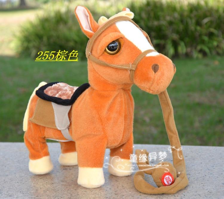Grand 30x25 cm Électrique cheval brun cheval jouet danse, musique cheval avec corde d'anniversaire cadeau De Noël cadeau a2332