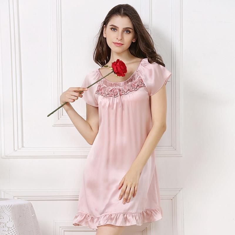 XL silk sleepwears summer woman 2019 new female short sleeve loose pink ruffles mini silk sleepshirts nightgowns sleepwears big