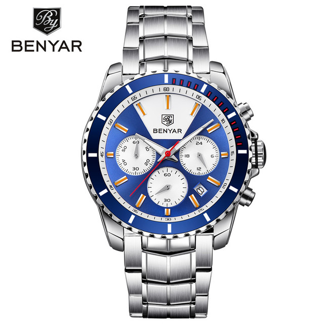 BENYAR NEW Design Business Mens Watches Top Brand Luxury Sport Chronograph Quartz Watch Men Full Steel Clock Waterproof Relogio | Fotoflaco.net