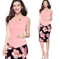 High Quality Offical Lady Dresses Sleeveless Vestidos Sexy Print Feminine Dress Club Clothing Big Size S
