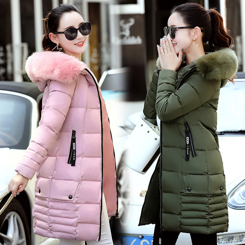 2017 winter women new down wadded jacket female medium-long cotton-padded jacket large fur collar thickening outerwear thermal цены онлайн