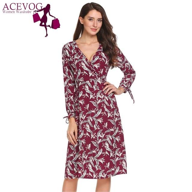 ACEVOG Women Vintage Floral Print A-Line Dress Autumn Sexy Deep V-Neck Wrap
