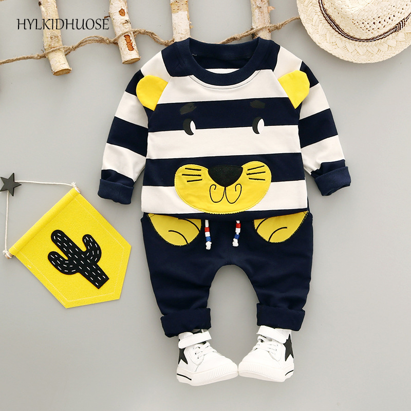 HYLKIDHUOSE 2017 Autumn Infant Newborn Cotton Clothes Sets Baby Boys Girls Suits Stripe Cartoon T Shirt