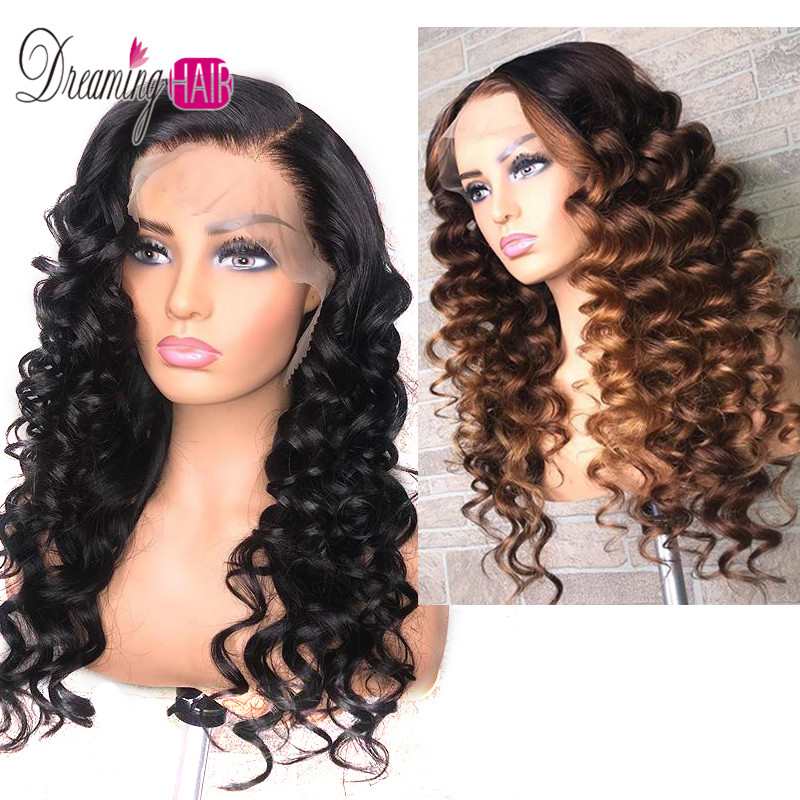 13x6 Ombre Human Hair Wig Loose Wave 13x6 Lace Front Wig 150% Density Remy Brazilian Honey Blonde Lace Wigs For Black Women