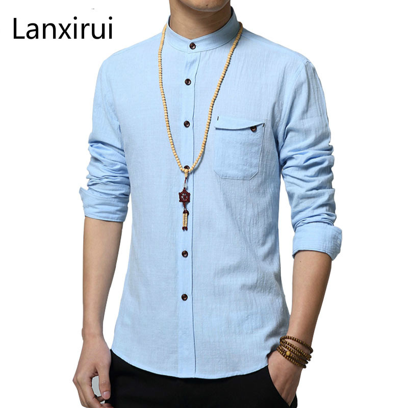 Brand Men Casual Linen Cotton Shirt Summer Mens Slim Fit Soft Long Sleeve Shirts Chemise Homme Camisa Masculina