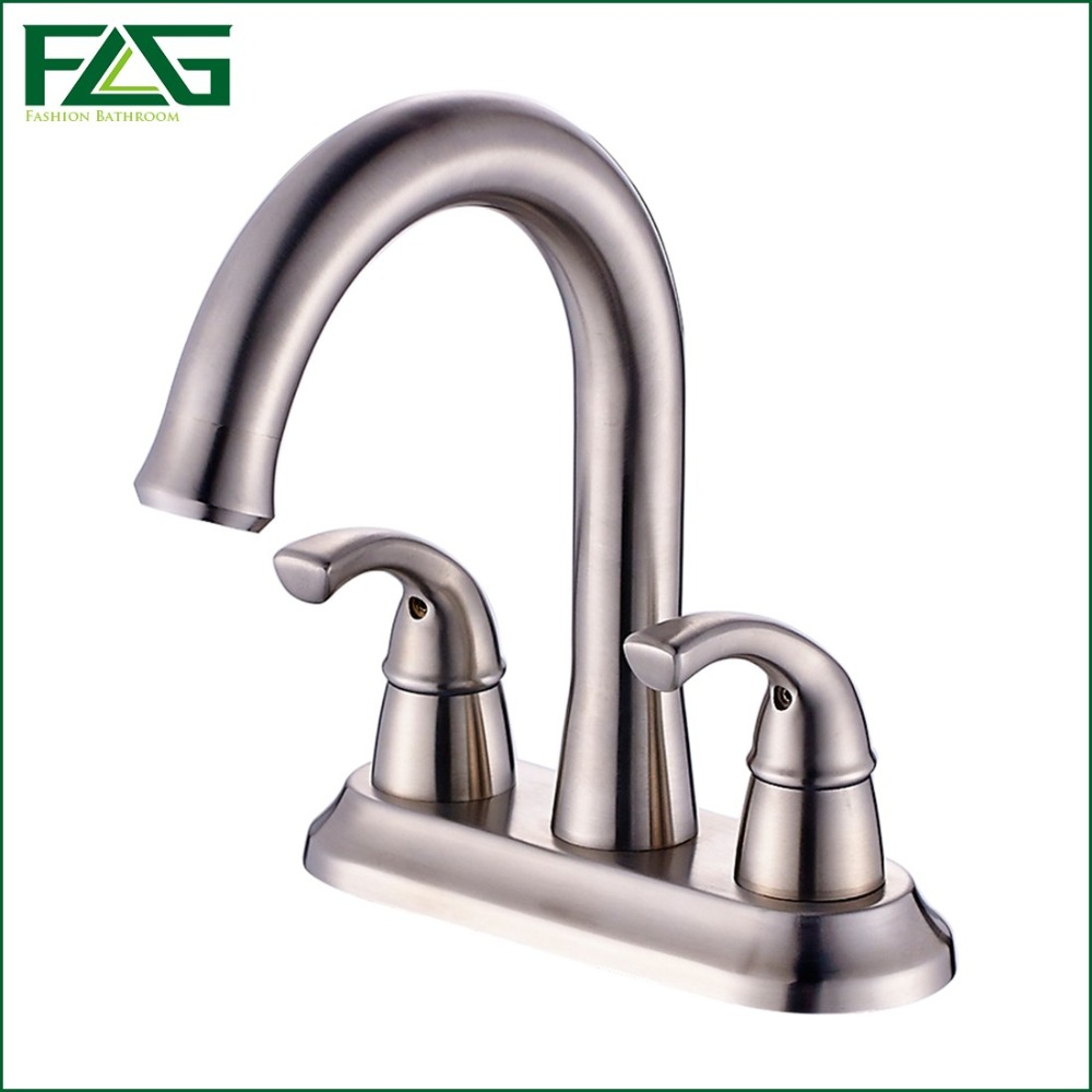 FLG Basin Faucet Hot Cold Deck Mounted 304 Stainless Steel Nickel Brushed Water Sink Mixer Taps Two Handles Holes Robinet 204-11 okaros nickel brushed 304 stainless steel kitchen sink faucet deck mounted basin tap cold