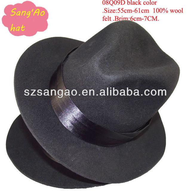 408251eff3d11 Wholesale fashion mens wide brim fedora hat for men or gentleman100%wool  felt with brim 6cm-7cm size55cm-61cm