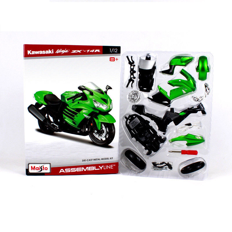 Maisto 1:12 Kawasaki Ninja ZX 14R Green Assemble DIY Motorcycle Bike Model KITS цена 2017