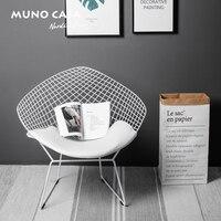 Бесплатная доставка U BEST на открытом воздухе Реплика Bertoia алмазная проволока обеденный стул, хромированная фурнитура Алмазный Кожаный Стул