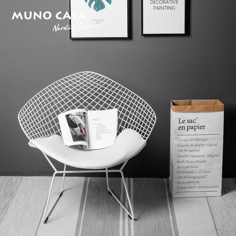 Frete grátis Réplica Bertoia Diamante U-BEST Ao Ar Livre Cadeira De Jantar Fio, Hardware Cromado Cadeira de couro Diamante por Harry