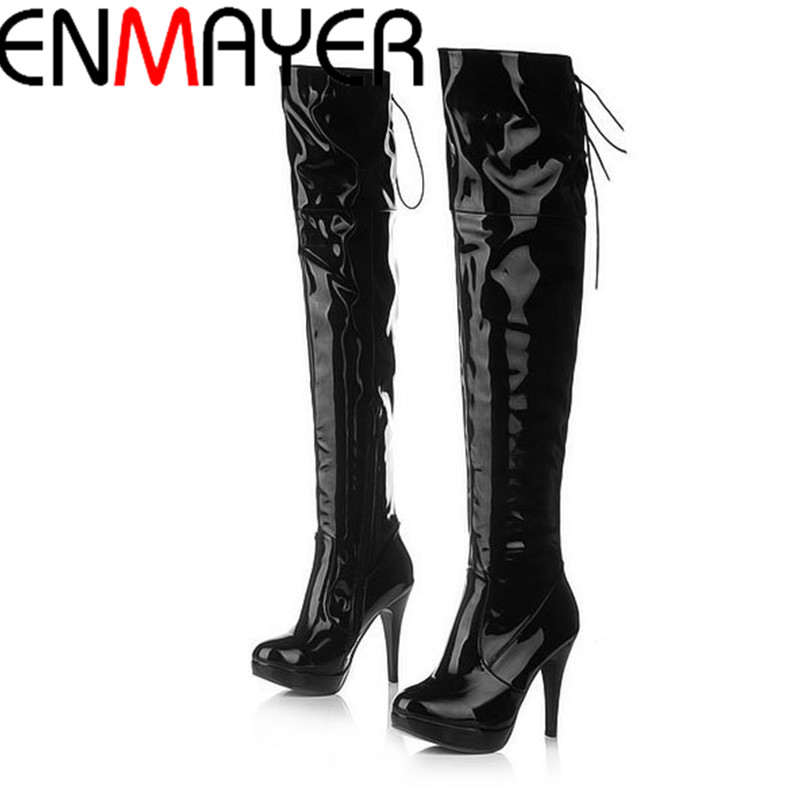 ФОТО ENMAYER Free Shipping Lady Over Knee Boots Fashion Long Women Boot Winter Footwear High Heel Shoes  Size 34-39e Shoes 838-1NXLSM