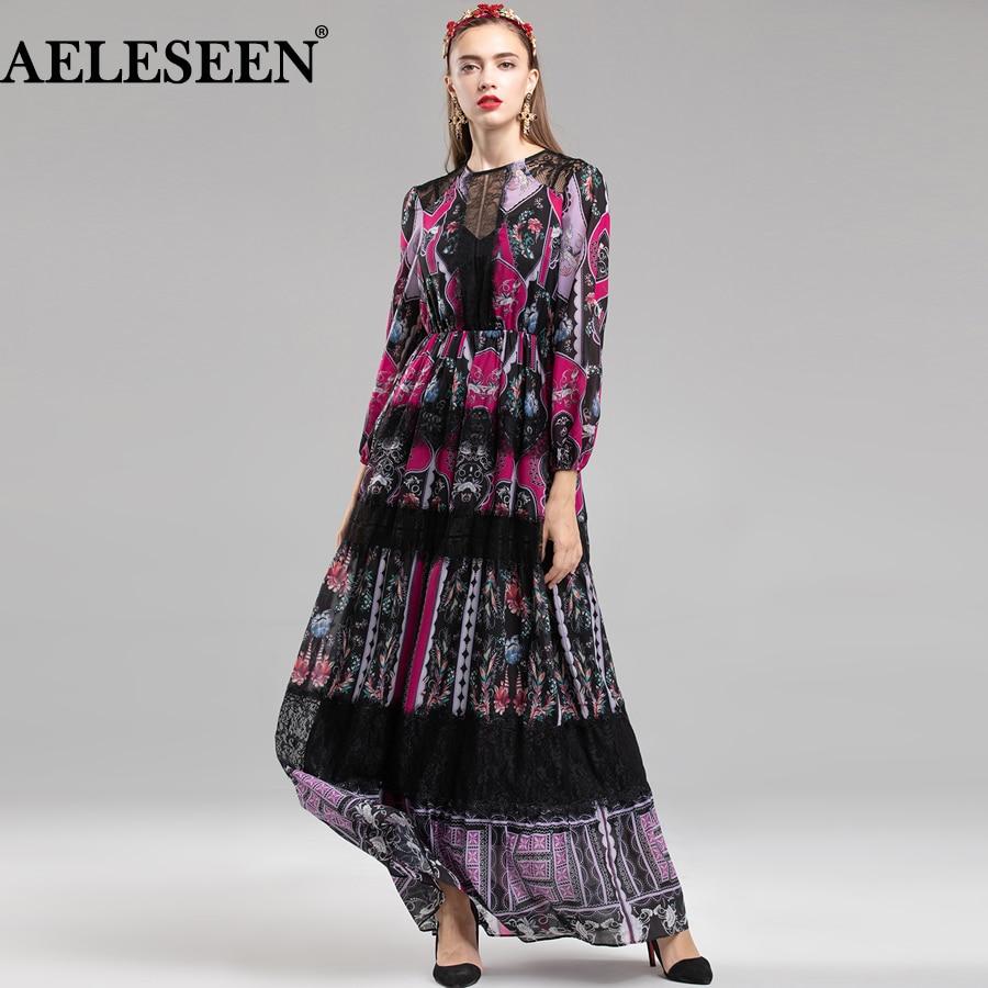 AELESEEN Dress Designer Ethnic Dress 2018 Women Autumn Fashion New Vintage Print Lace Runway Full Lantern Sleeve Long Dress