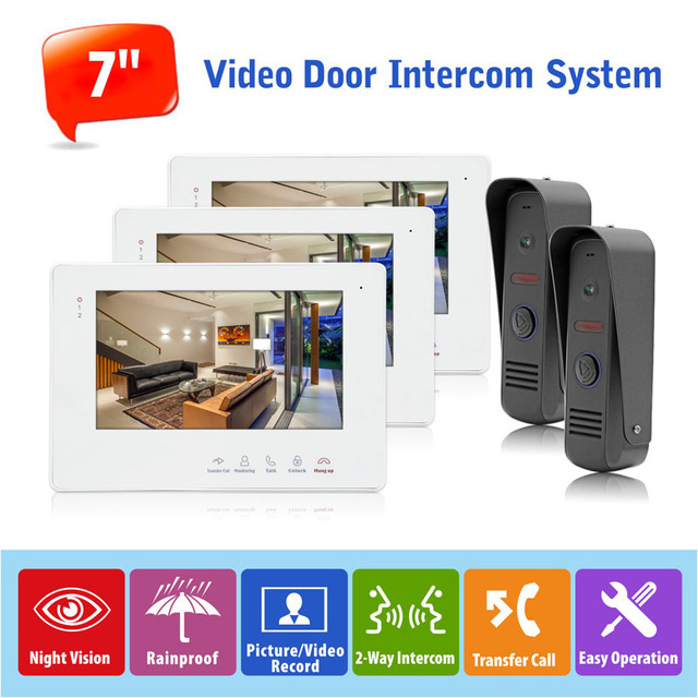 English/Russian/French/Spanish Wired Audio Video Doorphone Intercom Systems Support Electronic Lock and Indoor Unlock,2 to 3