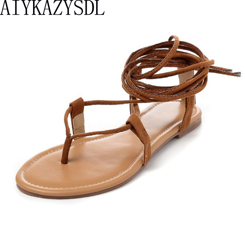 AIYKAZYSDL Women cross strap knee high summer roman Gladiator sandals Strappy Clip Toe thong Flat Heel flip flops Flock Shoes цена 2017