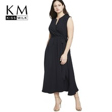Kissmilk Plus Size Women Clothes Simple Solid Black Sleeveless Collar Wrap V-Neck Dress
