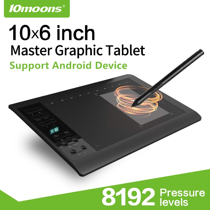 10moons G10 Master Graphic Tablet 8192 Levels Digital Drawing Tablet No Need Charge Pen Tablet Support Android Phone