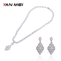 YAN MEI Vintage Square Stone Exquisite Charm Geometric Cubic Zirconia Jewelry Sets Engagement Gift GLE6318