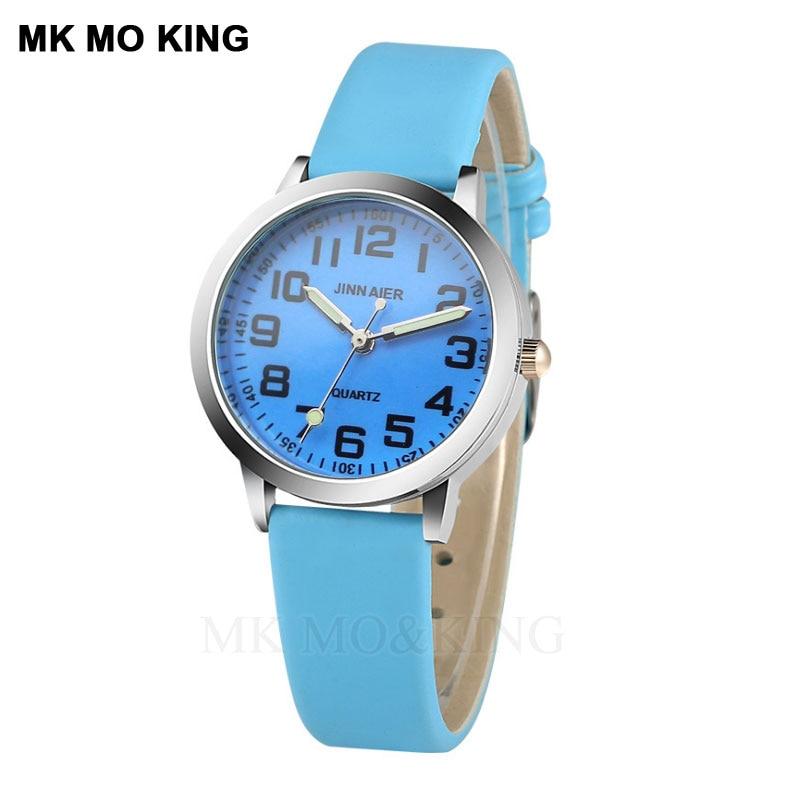2019 Fashion Sky Blue Boy Girl Quartz Clock High Quality Kids Casual Leather Dress Watch Child Watch  Reloj Clock Watch Box