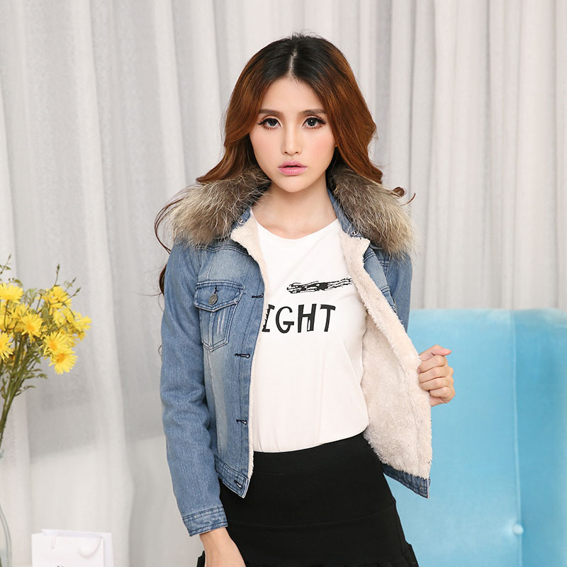 2018 new womens down spliced denim jacket coat with fur female winter shuba cotton jaquetas denim jeans bomber coats dzhinsovka