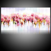 2017 Modern Wall Artwork Canvas Watercolor Oil Paintings Tulip Floral Painting Flowers Handwork Pictures Fashion Drawing