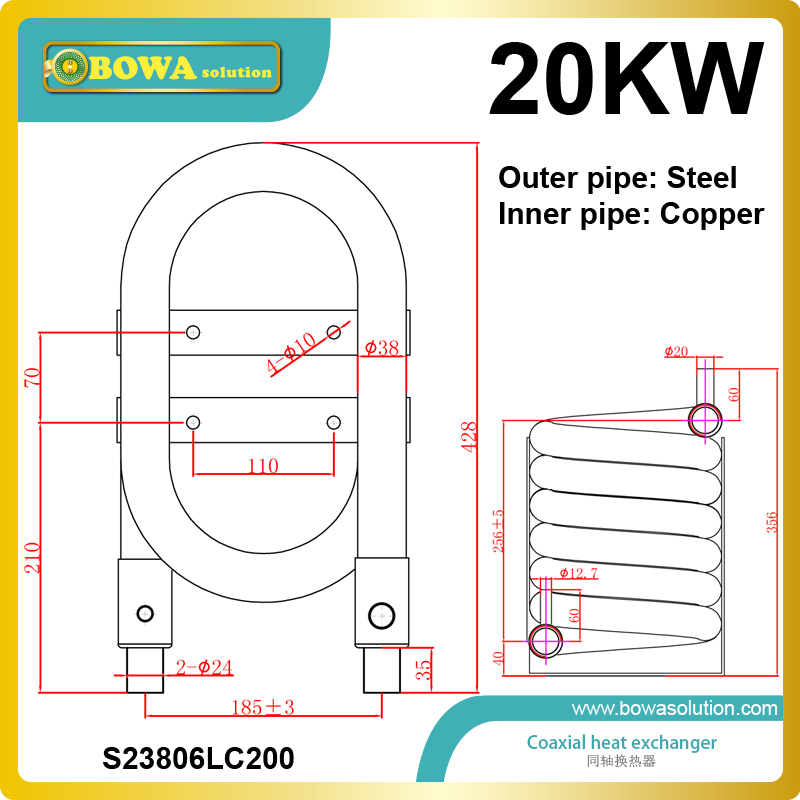 20KW heat exchange tube has the advantage of high reliability and long service life and high