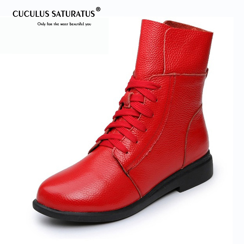 Cuculus Women's Boots Ankle Boot Genuine Leather Lace Up Winter Boot Ankle Boots For Women Low Heel Female Shoes 1944 внутренний ssd накопитель sandisk 480gb sdssda 480g g26