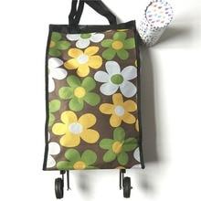 Portable Pliable Pliable Paquet Sac à Provisions Réutilisable Dames Rouleau Roues Roues Panier Shopping Sac 40