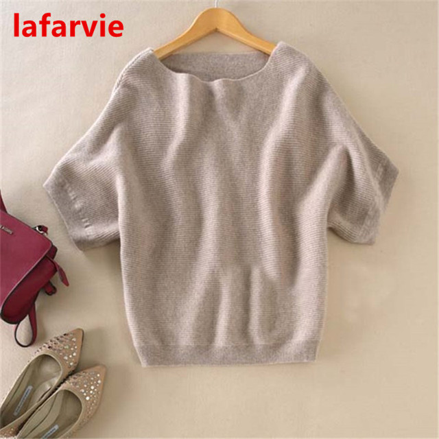 Lafarvie Hot Sale Quality Casual Cashmere Blended Slash Neck Half Sleeve Loose Cashmere Sweater Knit Wonen Pullover 6Color S-XL