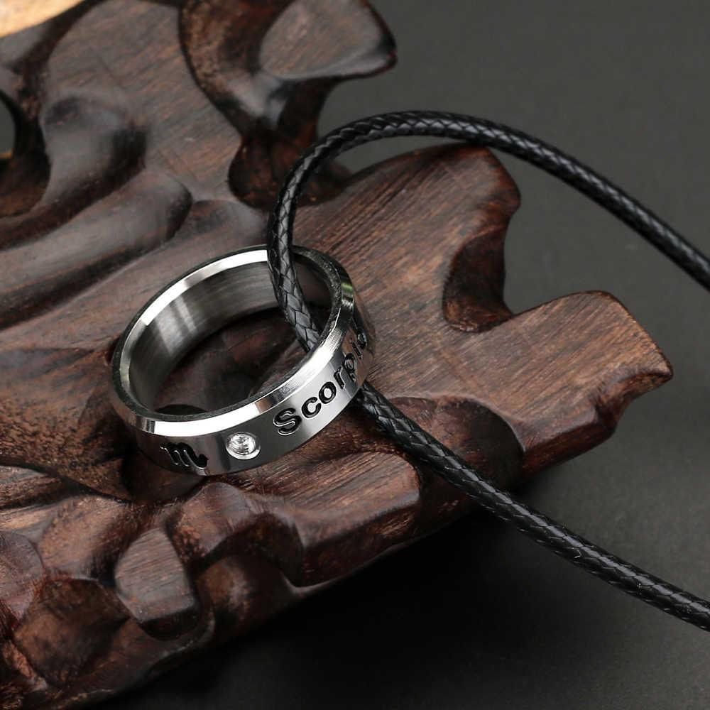 12 konstelacje naszyjnik kolor srebrny stal nierdzewna 12 zodiak okrągłe wisiorki i naszyjniki dla kobiet mężczyzn biżuteria