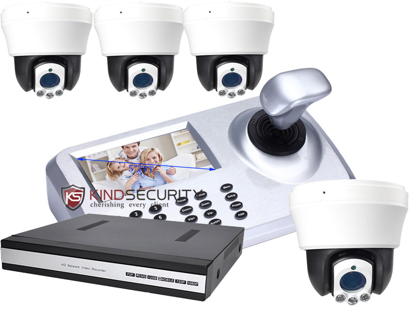 5inch LCD IP PTZ Keyboard control with 4pcs 4MP IP High Speed Dome Camera with 4ch NVR camera kits