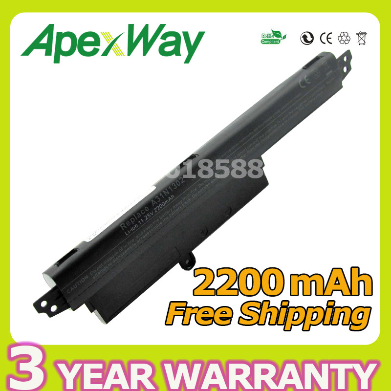 Apexway 2200mAh 11.25v For ASUS X200m Battery A31N1302 For ASUS VIVOBOOK X200CA F200CA A31LM9H AR5B125 jigu 2600mah laptop battery a31lmh2 a31n1302 for asus vivobook f200ca vivobook f200m vivobook f201e kx063h vivobook f200ma