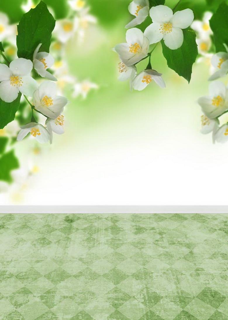 Customize Vinyl Cloth Print Spring White Flowers Photo Studio
