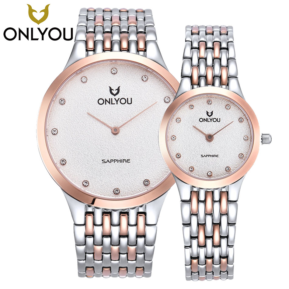 ONLYOU Top Brand Designer Women Quartz Watch 2017 Newest Mens Silver Gold Watch Band Couple Fashion Wristwatches in Gift Box onlyou hot gold silver male watches woman watch quartz wristwatches 2017 top luxury brand stainless steel band couple gift clock