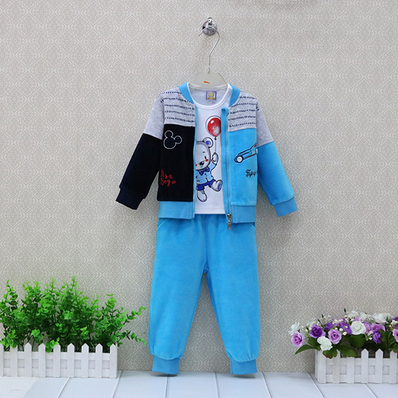 Children Clothing Boys Pure Cotton T shirts+Velour Long pants with Zipper Jacket 3 Pieces/set Autumn and Winter Baby Clothes